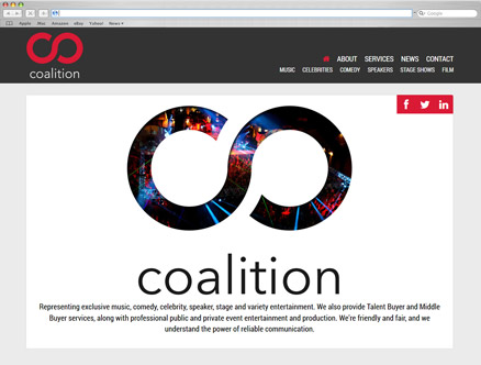 Coalition Talent Agency design and developed by Fantasmagorical