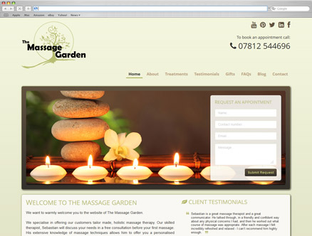 The Massage Garden design and developed by Fantasmagorical