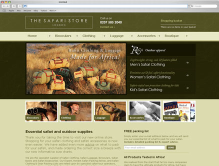 The Safari Store design and developed by Fantasmagorical